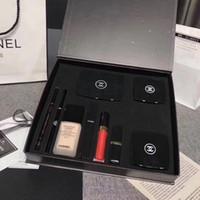 paleta de colores de lápiz labial al por mayor-Regalo Marca Configurar 9 de maquillaje en la gama de colores 1 Base de Maquillaje 30ml del lápiz labial Lipgloss ceja del trazador de líneas de la pluma Blush Mascara 9pcs