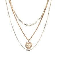 gold elegantes kreuz großhandel-Elegante simulierte Choker Multilayer Halskette Gold Farbe Kristallkette und hohle Herz Kreuz Halsketten N1304