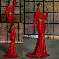 Wholesale reception dresses for sale - Group buy Red Sexy Sparkly Evening Dresses Mermaid Backless Beaded Arabic Aso Ebi Prom Dresses Sequined Formal Party Second Reception Gowns