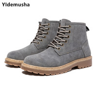 Wholesale boys half boot resale online - Mens High upper PU Leather Boots New Autumn Footwear For Men Comfortable Young Boy Casual Boots Wearable Fashion Men s