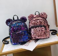 Wholesale children bear backpack for sale - Group buy Designer Women Shoulder Bag Girl Cute Cartoon Sequins Bear Backpack Parent child Mouse Schoolbag Receives Gifts Mini Sequins Bags