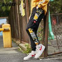 ingrosso pantaloni neri di cargo hiphop-E-BAIHUI Pantaloni cargo a righe laterali Mens Patchwork Pantaloni neri da jogging Pantaloni Uomo Pantaloni Hiphop Moda Casual tuta mimetica SweatPants G15