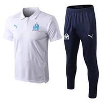 spor pantolon adam futbol toptan satış-Hui 2019 Olimpiyat Marsilya Eşofman Futbol Koşu Futbol Ceket Ceket Tops Spor Eğitim 17/18/19 Takım Erkekler OM Futbol eşofman