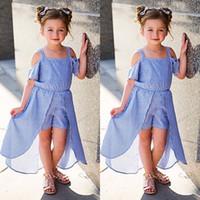ingrosso vestiti principessa blu-Toddler Kids Baby Girl Striped Off Shoulder Tutu Dress Neonate Princess Summer Sunsuit Allentato Mini Abiti Vestidos Vestidos