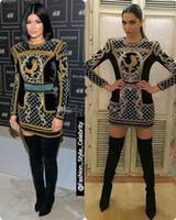mostrar vestidos de fiesta al por mayor-De manga larga de cuello alto Kylie Jenner Muestra vestidos cortos del partido de baile Los vestidos de Premios Oscar vestidos de Celebrity Red Carpet tarde de las mujeres