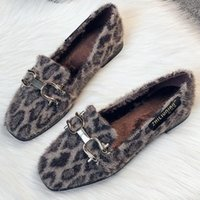 женщины плоские ботинки оптовых-Балетки Женщины Зимняя обувь Меховые Теплый Пушистые Мокасины скольжению На Плюшевые Leopard мокасины площади Toe Lady Обувь Плюс размер 42 43