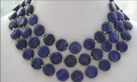 Wholesale 12mm lapis beads resale online - necklace J0035 mm coin blue lapis lazuli bead necklace inches