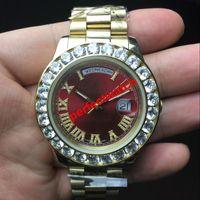 cara de diamante venda por atacado-43 MM venda quente relógios homens Day-Date Red face homens relógio de diamante automático de alta qualidade safira 18K fecho original Mecânica WristWatche.
