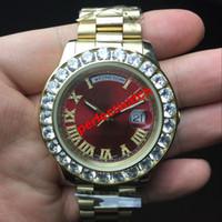 relojes cara de diamante al por mayor-43 MM venta caliente relojes hombres Day-Date Red face diamond watch hombres automático zafiro de alta calidad 18K cierre original Reloj de pulsera mecánico.