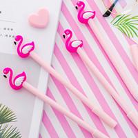 каваи розовая ручка оптовых-1 PCS Kawaii Cartoon 0.38mm Writing Pen Lucky Pink Flamingo Gel Pen Signature Escolar Papelaria School Office Supply