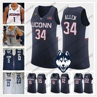 ingrosso raggi blu-NCAA Uconn Huskies # 34 Allen 22 Gay 15 Walker 12 Drummond Maya Moore bianco Ray Rudy Kemba Andre 23 grigio blu Connecticut Maglie