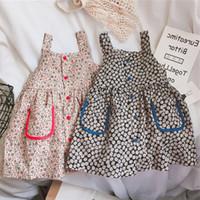 Wholesale flowers korea for sale - Group buy Baby Girl Clothing Princess Dress Korea Full Flower Print Pockets Suspender Dress high quality
