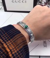 joyas gratis de piedra al por mayor-La nueva llegada S925 de plata pura Abrió el brazalete del encanto punky con la piedra de la naturaleza para las mujeres y el hombre Regalo de la joyería de la manera envío libre PS7273