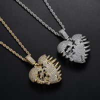 Wholesale rib cage for sale - Group buy Broken Rib Cage Heart Pendants Necklace Hip Hop Micro Paved CZ Stone Bling Ice Out Necklace