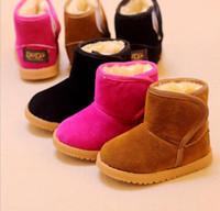 sapatos marrons para meninos venda por atacado-Meninas Meninos Botas De Neve De Inverno Crianças Sapatos De Algodão Confortável Quente Ankle Boots Vaca Muscular Sapatos De Bebê Crianças botas Preto Marrom Rosa