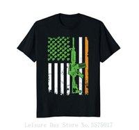 kıyafet tabancası toptan satış-İrlanda Amerikan Bayrağı Gömlek Gun 2018 Kısa Kollu Pamuk T Shirt Adam Giyim
