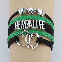 пользовательские плетеные кожаные браслеты оптовых-Оптовая цена Herbalife браслеты Шарм ручной работы плетеный кожаный двойной сердца BraceletsBangles для женщин мужчины ювелирные изделия на заказ