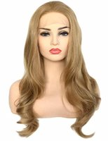 Wholesale wavy synthetic full lace wig resale online - Natural Hairline Long Wavy Dark Ash Blonde Heat Resistant Synthetic Lace Front Wig Glueless Half Hand Tied Replacement Full Wigs for Women