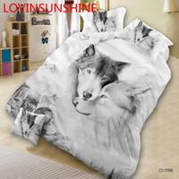 постельное белье волка оптовых-3D Wolf Printed Pattern Bedding Set Bedclothes Comforter Cover Bed Sheet Pillowcase  Animal Bed Set
