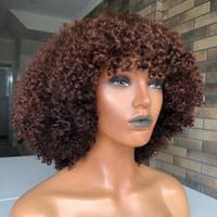 perucas ruivas cacheados crespos venda por atacado-180 Densidade Auburn Curly cabelo humano rendas frente perucas com franja completa Kinky Cabelo Curly perucas completas do laço humano da Mulher Negra