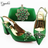 afrikanischen stil schuhe großhandel-Capputine Sommer Dekoration mit Kristall Frau Grüne Farbe Schuhe und Tasche Sets African Style Schuhe mit Beutel für Frauen-Party