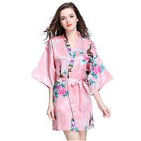 xxl ipek pijama toptan satış-12 Renkler bornoz Uyku elbisesi S-XXL kadın Japon Ipek Kimono Bornoz Pijama Gecelik Pijama çiçek Iç Çamaşırı VVA454