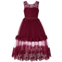 Formal Floor Length Flower Girl Dress Girl Long Princess Brithday Applique Ball Gown Kids Dresses 5 13 Years old E200220