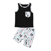 ingrosso giacche per neonati-Estate 2 PZ Baby Set Ragazzi Toddler Baby Boys T-Shirt Tasca Senza Maniche Vest + Stampa Pantaloni Corti Set Baby Boy Vestiti M8Y24