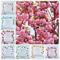 künstliche kirschblüten reben großhandel-2,3 m künstliche Blumen Kirschblüte Sakura Zuckerrohr künstliche Rebe für Hochzeitsdekorationen Wand montiert Blumenkette