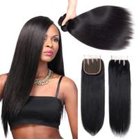 7a remy insan saçı toptan satış-7A Sınıf Perulu Düz Virgin İnsan Saç Demetleri Ile Kapatma Doğal Renk 100% Işlenmemiş Remy İnsan Saç Örgü Demetleri Ile Kapatma