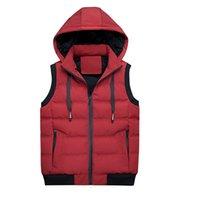 gilet mens à capuche rouge achat en gros de-Mode automne et hiver pour hommes vestes chaudes à capuchon gilet épais sans manches décontracté bas veste survêtement M-XXXL rouge noir armée vert