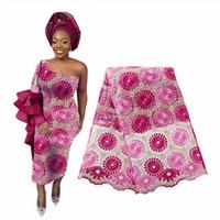 ingrosso fiori di ricamo in rilievo-Tessuto di pizzo con perline africano di alta qualità Tessuto di pizzo nigeriano con ricami in pizzo voile francese 2019 Aso Oke Gele Headtie Sciarpa BF0016