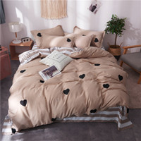 Wholesale country beds for sale - Group buy 4PCS Fashion Home Textile Bedding Sets Soft Heart Stripe Duvet Cover Pillowcase Sheet Teen Adult Woman Bed Linen For Gift