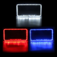 Wholesale car light plates frames for sale - Freeshipping Universal Blue White Red Car LED Lighting Acrylic Plastic License Plate Cover Frame