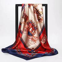 dikiş kumaş malzemesi toptan satış-90 * 90 cm Dut Ipek Kumaş Yumuşak Eşarp Elbise Dikiş malzemeleri Için ipek kumaş baskılı JHG044