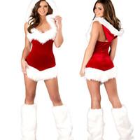 traje de cosplay vermelho venda por atacado-Lingerie Sexy Hot Red Natal Uniforme Cosplay Lingerie Role Play Costumes Pornô Lingerie Sexual Lenceria Trajes Eróticos Vestido