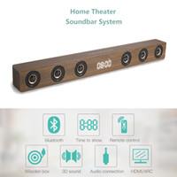 ingrosso bluetooth aux rca-Wireless TV Soundbar Altoparlante Bluetooth 30W Sound Bar Altoparlante stereo in legno stereo con RCA AUX HDMI per home theater TV
