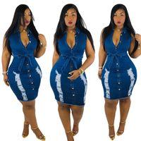 sexy schwarze kleider großhandel-Sommer Frauen Sexy V-Ausschnitt Sleeveless Slim Fit Kleid Lässige Party Club Solid Black Blue Denim Kleider