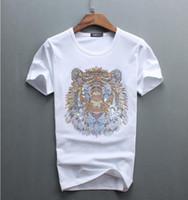üst erkekler elmas tişörtler toptan satış-Toptan lüks elmas tasarım Tshirt moda t-shirt erkekler komik t shirt marka pamuk tops 02