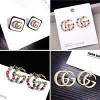 Wholesale jewelry alphabet for sale - Group buy 2019 NEW Designer Letter Earrings For Women Fashion Bling Bling Stud Earring Silver Needle Jewelry Gifts