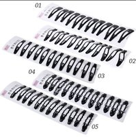Wholesale black snap hair resale online - 12Pcs Pack Portable Black Snap Hair Clips Women Girls Hairpins Barrette Hairgrip Child Headwear Hair Styling Tools Accessories