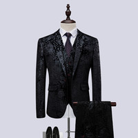 брючные выпускные платья оптовых-Jacket+Pant+Vest Men Suit Fashion 2018 Autumn New Business Casual Dress Suits Men's Clothing Formal Wear Groom Prom Tuxedo 6XL-M