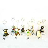 masa yeri numaraları toptan satış-Parti Dekorasyon 8 Stil Mini Reçine Hayvan Şekilli Masa Numarası Tutucu Yeri Kart Klip Düğün Doğum Günü Partisi Dekorasyon EEA483