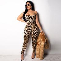 backless verband bodycon overall großhandel-Sexy Weiblicher Overall Verband Leopardenmuster Overall Trägerlosen Backless Sleeveless Overalls Für Frauen Bodycon Overall