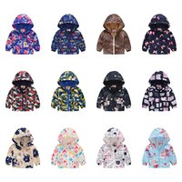 Wholesale character jackets resale online - Baby Unisex Printed Jacket Fashion Baby Zipper Jacket Cartoon Dinosaur Car Abstract Printed Casual Hooded Outwear T