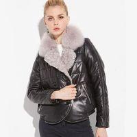 jaqueta de pele coreana venda por atacado-2019 mulheres jaqueta de inverno parka real casaco de pele de raposa pele de carneiro jaqueta de couro genuíno grosso quente solto estilo coreano casaco de pele real