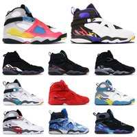 aqua basketball schuhe groihandel-Mensbasketballschuhe 8s Multi Color Snowflake Aqua South Beach Drei Peat Tinker Chrome Playoffs 8 Männer Trainer Sport Turnschuhe
