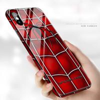 boa qualidade telefone casos venda por atacado-2019 marvel vingadores padrão phone case para iphone 6 7 8 plus x xr xs max tampa de vidro rígido boa qualidade