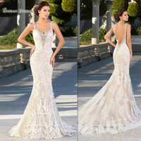 ingrosso zuhair murad merletto di cristallo della sirena-Abiti da sposa Zuhair Murad 2019 Mermaid Appliques di cristallo di pizzo Abiti da sposa Backless Sexy perline Sposa Party Dress