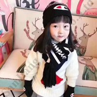 Wholesale child crochet muff for sale - Group buy 3Pcs Set Children Hat Scarf Gloves Set Champion Designer Scarves Suit Baby Kids Winter Warm Knitted Beanies Caps Glove Scarfs Sets C92002